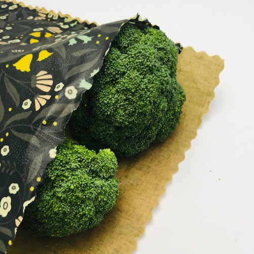 broccoli in a large beeswax produce bag