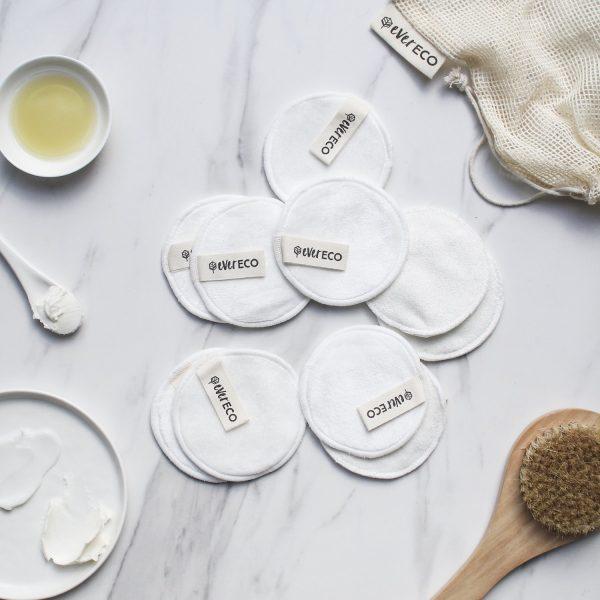 Evereco Reusable Bamboo Facial Wipes – Pack of Ten