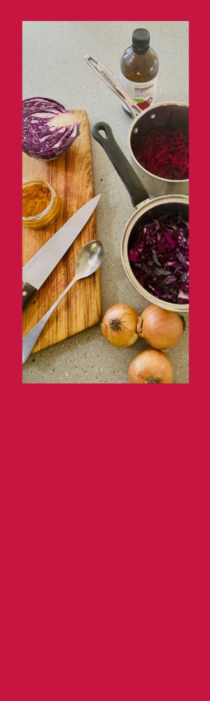 Making natural dyes with vegetables.