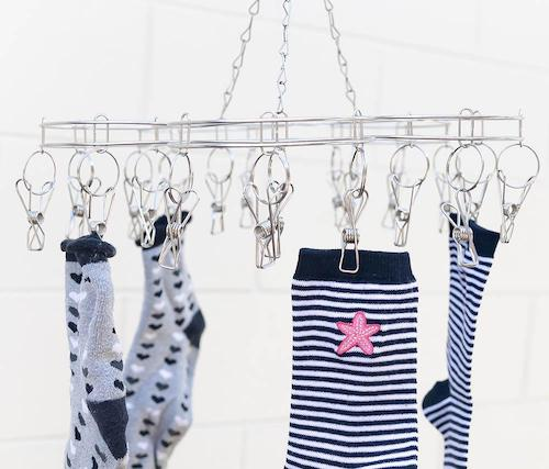 Stainless Steel Sock Hanger with 20x Pegs by Activated Eco